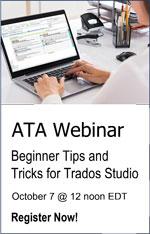 ATA Webinar Beginner Trados