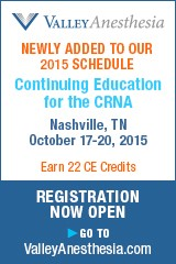 Newly added to our 2015 Schedule Continuing Education for the CRNA