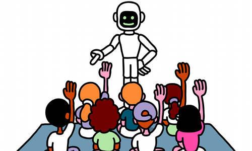 A robot, teaching.
