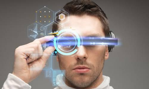 A man wearing a Virtual Reality rig.