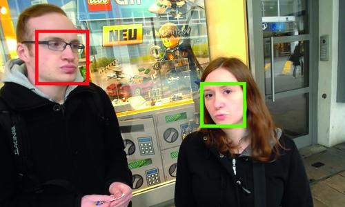 Red box and green box on faces, indicating eye contact or lack of it.
