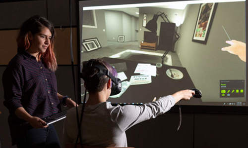 Observing a study participant in VR.