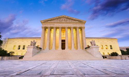 Photo of the front of the Supreme Court building