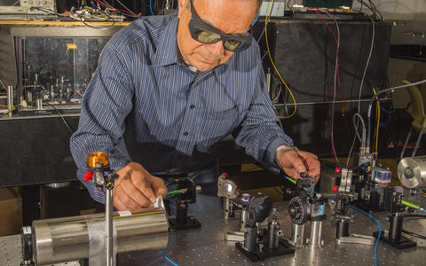 NIST physicist Dave Howe working with magnetic radio