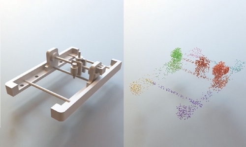 A complex 3D CAD model (left) can be broken down into the many individual shapes they are made of (right)