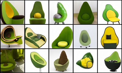 AI-generated avocado armchair images.