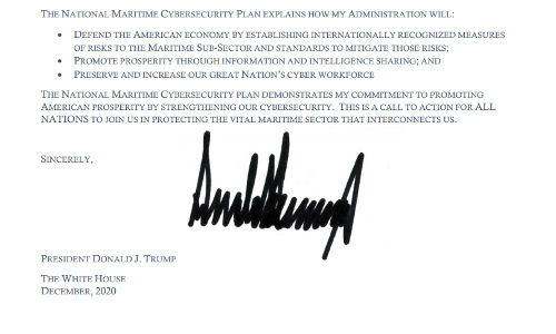 President Trump's signature on the National Maritime Cybersecurity Plan.