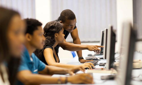 African-American students in a computer lab