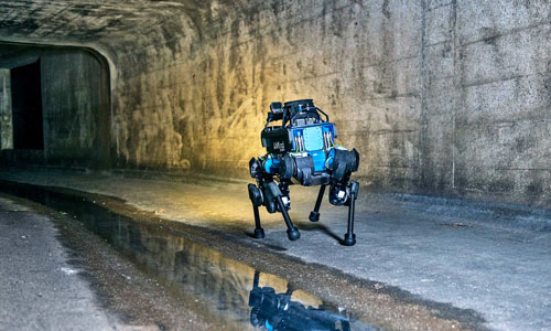 An 'ANYmal' robot testing the navigation of dark sewers