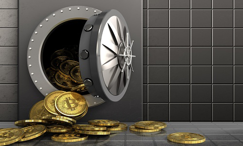 Bitcoins falling out of a steel safe, illustrated