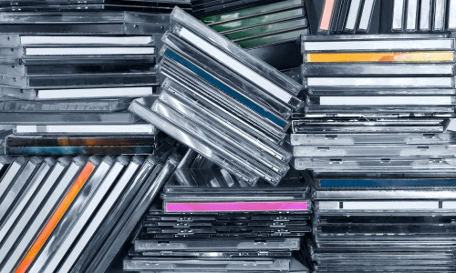 Stacks of CD cases