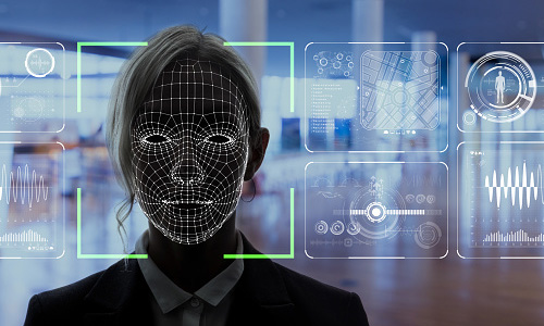 Woman having face scanned