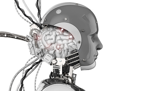 Robot head with exposed brain attached to wires