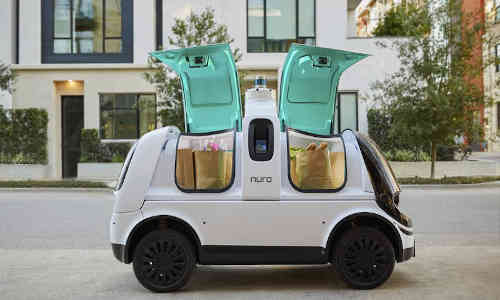 Nuro's self-driving delivery vehicle has no accommodation for humans.