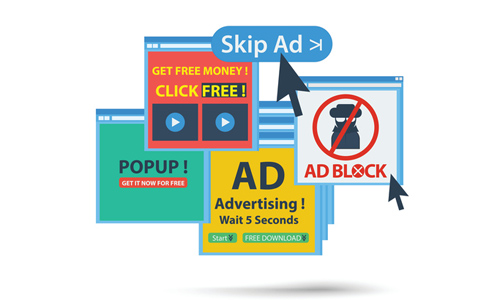 Various pop-up windows for ads and ad blockers, illustrated