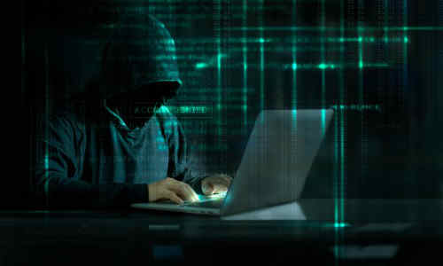 A hacker at work.