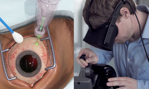 A person performing a surgery with virtual reality headset gear