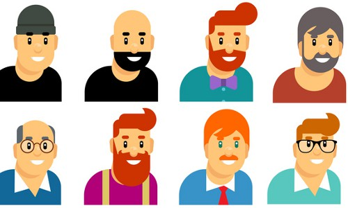 White male faces, illustration