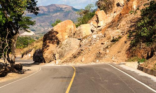 Landslide blocking roadway