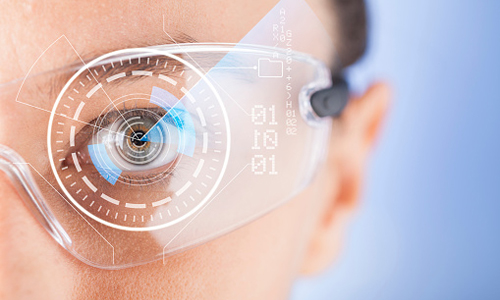 Close up of a women wearing AR glasses with different icons on the lenses