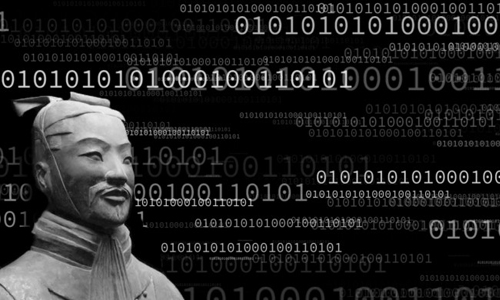 Stone statue of Sun Tzu with binary code in the background.