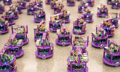 A group of robots preparing to swarm.