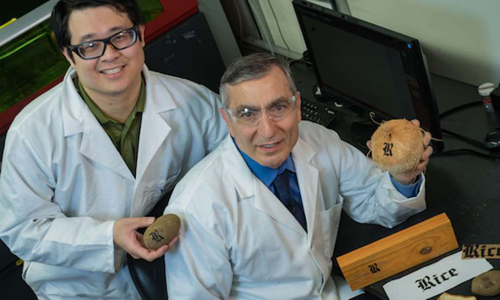 Rice University graduate student Yieu Chyan, left, and Professor James Tour, right, holding objects printed with edible graphene