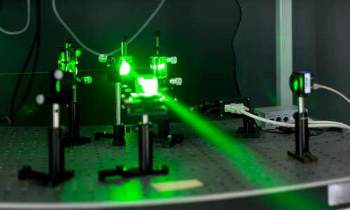 Green laser being used in a laboratory