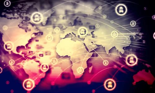 tech image of world map