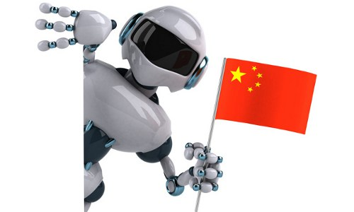 robot with China's flag