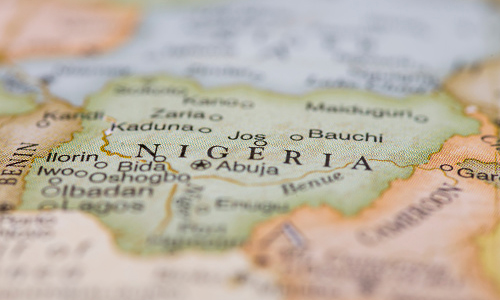 Close-up photo of the country of Nigeria on a world map