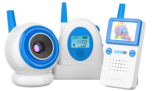 Baby monitor cameras and audio monitors on white background