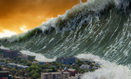 A tsunami wave over a city