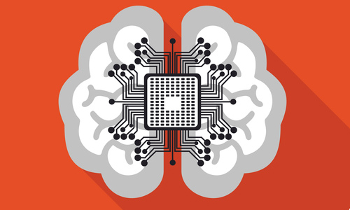 Illustration of brain with microchip