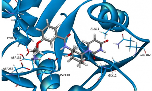 3-D docking pose of potential GalU inhibitor