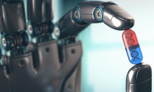 A robotic hand holding a pill