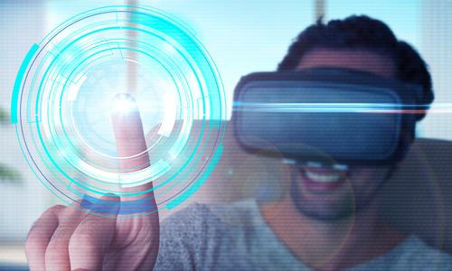 A man wearing a virtual reality headset