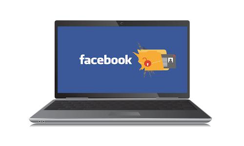 Illustration of Facebook logo on a laptop