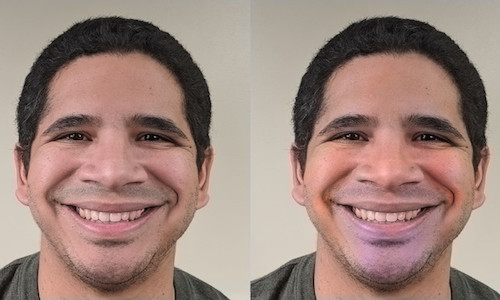 Two photos of same male face, one blushing.