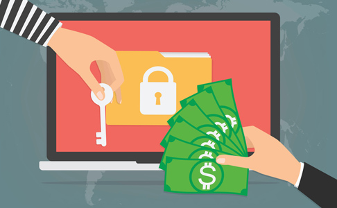 Man's hand holding money to exchange with hacker to unlock computer, illustration