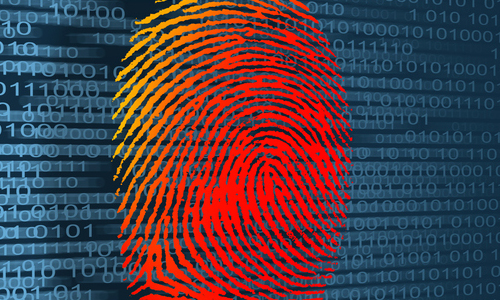 A fingerprint on a binary code background