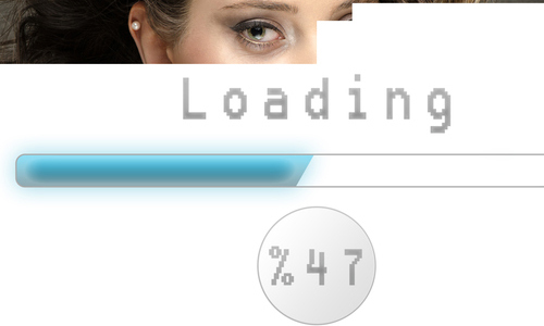 A loading image of a woman's face