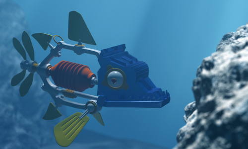 A robotic fish swimming in deep sea