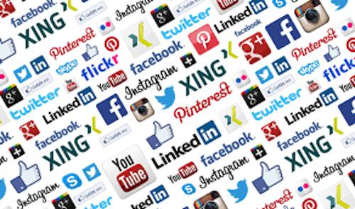 A mosaic of social media logos