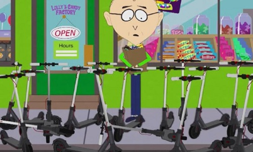 scooters spoofed on South Park