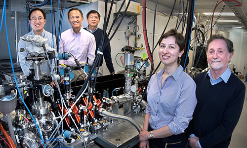 The Brookhaven/Stony Brook team (from left): Junjie Li, Yimei Zhu, Lijun Wu, Tatiana Konstantinova, and Peter Johnson