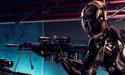 A robot holding a rifle