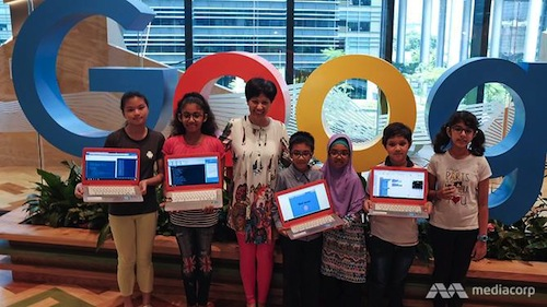 Student participants with  Senior Minister of State for Finance and Law at the Google Asia Pacific offices.