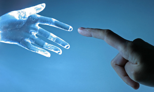 AI and human fingers