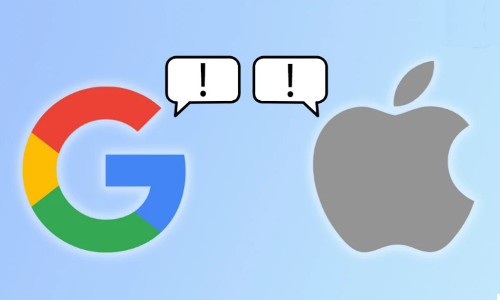 Google and Apple logos and exclamation points in word balloons
